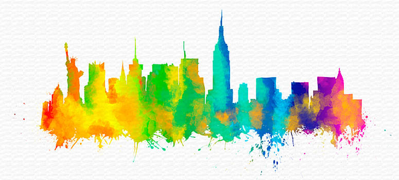 Vyacheslav Isaev - New York city colorful watercolor skyline