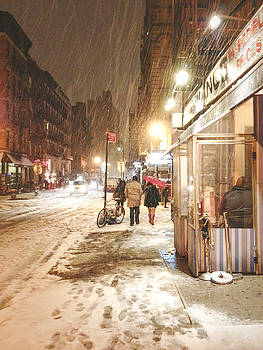 New York City - Winter Night - Snow in the City by Vivienne Gucwa