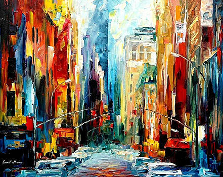 New York-Early Morning - PALETTE KNIFE Oil Painting On Canvas By Leonid Afremov by Leonid Afremov