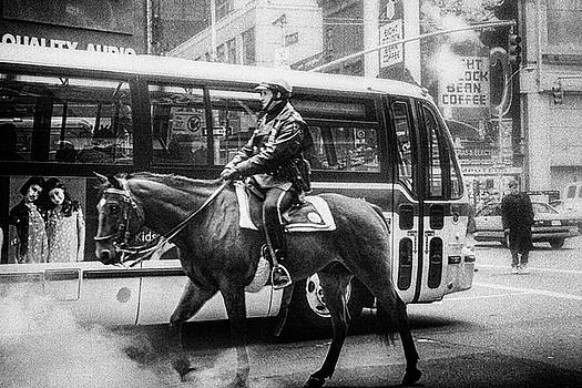 New york policeman rides on horse by Frank Andree