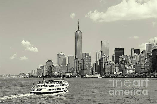 New York Skyline and Ferry Black and White by Nishanth Gopinathan