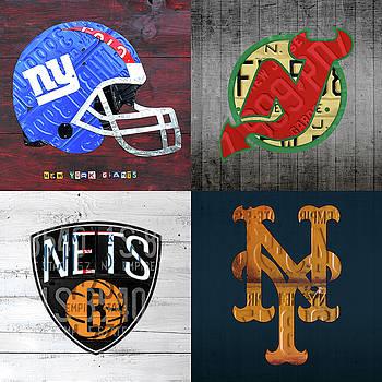 Design Turnpike - New York Sports Team License Plate Art Collage Giants Devils Nets Mets V3