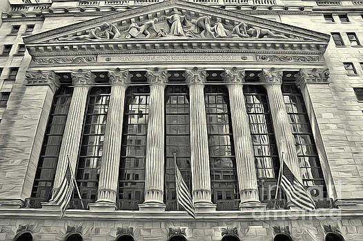 New York Stock Exchange Building 1 Black and White by Nishanth Gopinathan