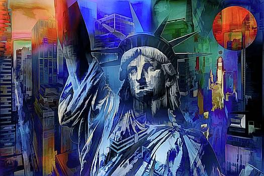 New York Symbols - Blue Dreams  by Daniel Arrhakis