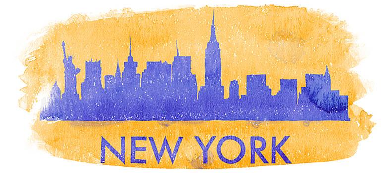 Vyacheslav Isaev - New York city skyline on an orange background