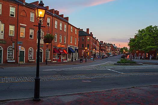 Newburyport MA High Street Lanterns at Sunset by Toby McGuire
