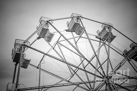 Paul Velgos - Newport Beach Ferris Wheel Black and White Photo