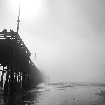 Newport Beach Pier in Fog by Richard Hinds