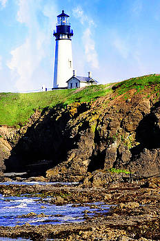 Newport Oregon - Yaquina Lighthouse In The Clouds by Image Takers Photography LLC - Laura Morgan