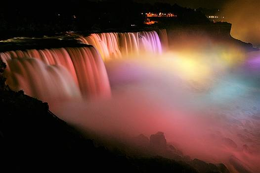 Niagara Falls at Night Pink by Bruce Bradley