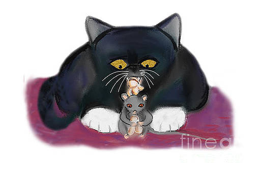 Nibbling on Popcorn by Mouse and Kitten by Ellen Miffitt