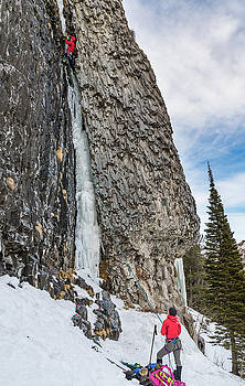 Nic Houser climbing The Thrill is Gone rated M4 near Bozeman MT by Elijah Weber