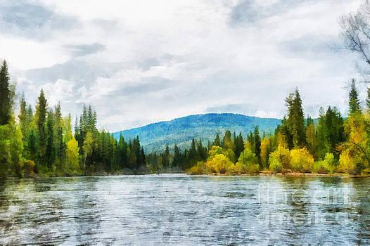Nichka river and hills of Eastern Sayan range illustration by Magomed Magomedagaev