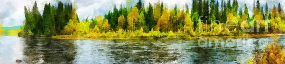 Nichka river is tributary of Kizir. Eastern Sayan range, Krasnoyarsk region, Siberia, Russia. Panoramic illustration by Magomed Magomedagaev