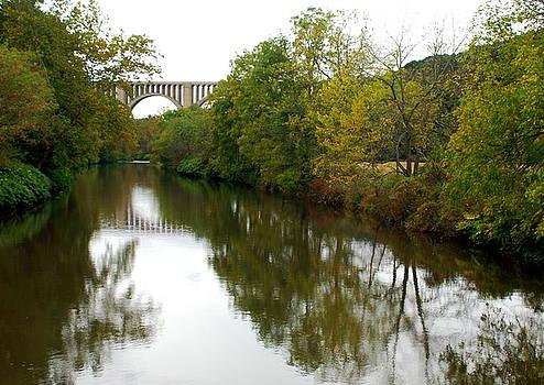Nicholson Bridge Reflections Fall by June Lambertson