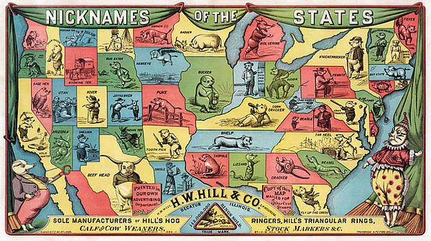 Nicknames of the states, 1884 by Vintage Printery