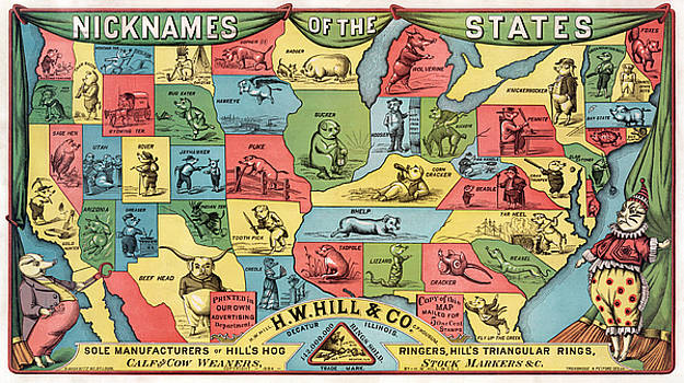 HW Hill and Co - Nicknames of the States