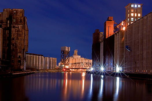 Night At Ohio Street Bridge by Don Nieman