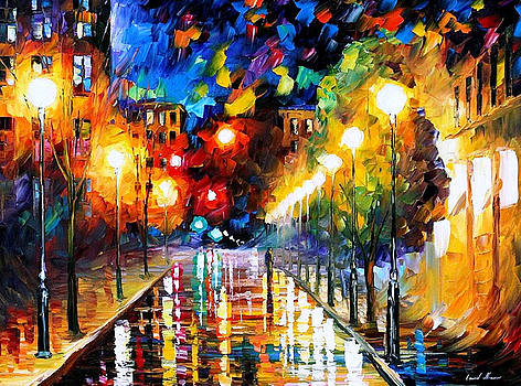 Night Boulevard - PALETTE KNIFE Oil Painting On Canvas By Leonid Afremov by Leonid Afremov