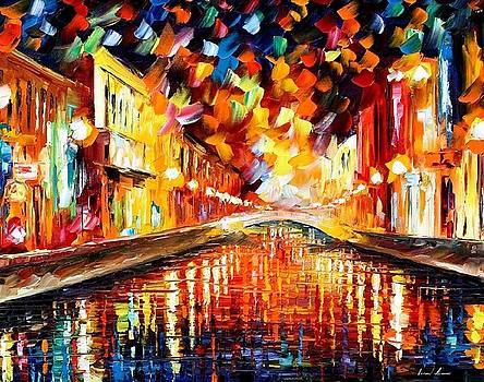 Night Bridge - PALETTE KNIFE Oil Painting On Canvas By Leonid Afremov by Leonid Afremov
