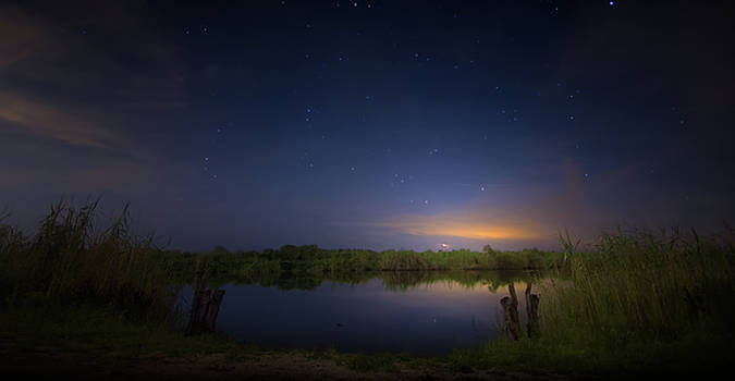 Night Brush Fire in the Everglades by Mark Andrew Thomas