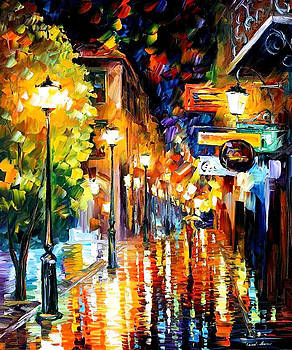 Night City Colors - PALETTE KNIFE Oil Painting On Canvas By Leonid Afremov by Leonid Afremov