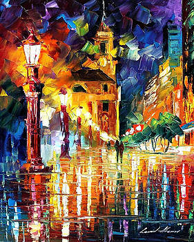 Night City Lights - PALETTE KNIFE Oil Painting On Canvas By Leonid Afremov by Leonid Afremov