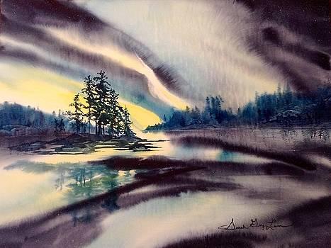 Night Dance over Burntside Lake by Sarah Guy-Levar