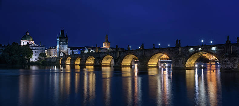 Night Falls Over Charles Bridge Prague Czech Republic by Steve Gadomski