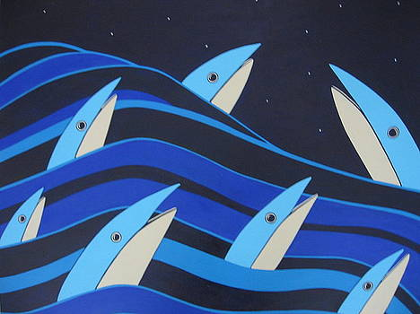 Night fish stars on the water by Sandra McHugh