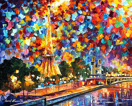 Night In Paris - PALETTE KNIFE Oil Painting On Canvas By Leonid Afremov by Leonid Afremov