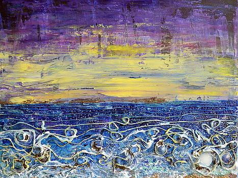 Night Lit Shoreline by Regina Valluzzi