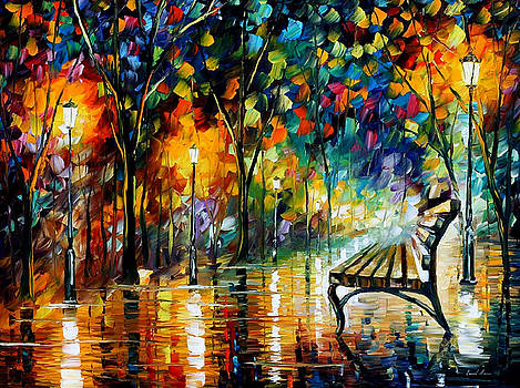 Night Loneliness - PALETTE KNIFE Oil Painting On Canvas By Leonid Afremov by Leonid Afremov