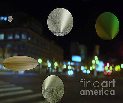 Night on the Avenue with Floating Metallic Icons by Joyce Dade