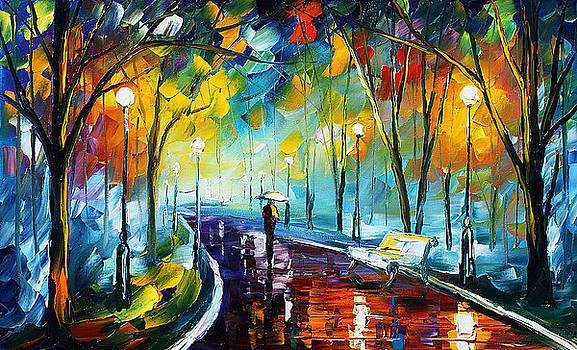 Night Park 3 - PALETTE KNIFE Oil Painting On Canvas By Leonid Afremov by Leonid Afremov