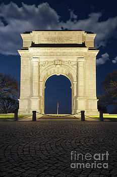 Night Photo Valley Forge Arch by Melissa Fague