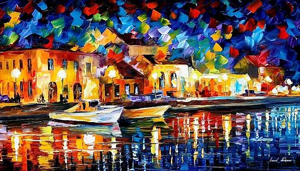 Night Riverfront - PALETTE KNIFE Oil Painting On Canvas By Leonid Afremov by Leonid Afremov