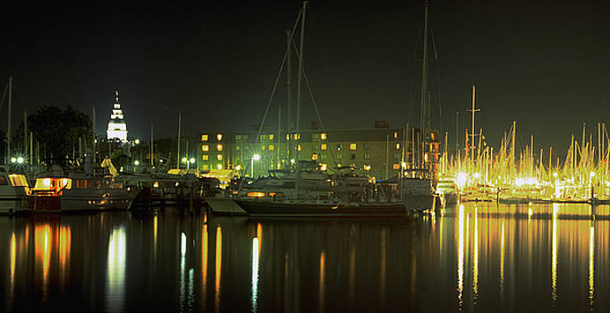 Night Shot of Downtown Annapolis by Paul Pobiak