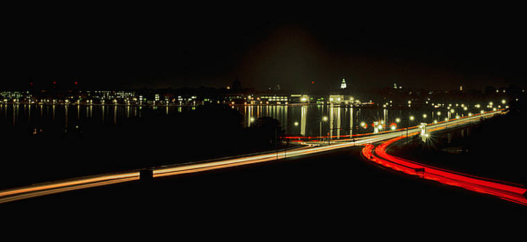 Night Shot of U.S. Naval Academy and Downtown Annapolis by Paul Pobiak
