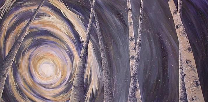 Night Sky and Lit Aspens by Kim Smith