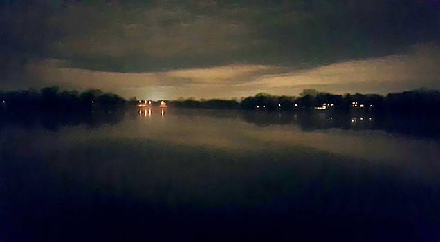Night Sky Over Lake with Clouds by Lynn Hansen