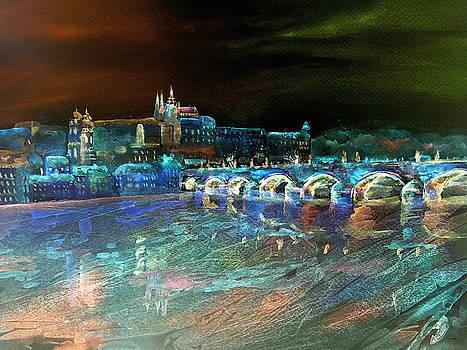 Night Sky Over Prague by Elizabeth Lock