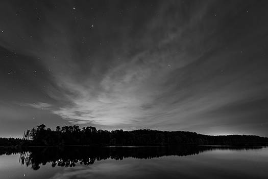 Night Sky Over The Lake in Black and White by Todd Aaron