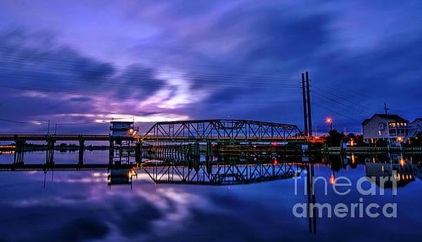 Night Swing Bridge by DJA Images