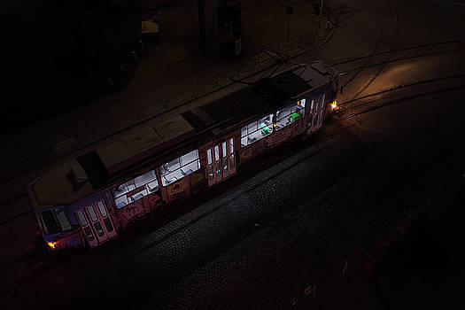 Night tram in Sofia by Alfio Finocchiaro