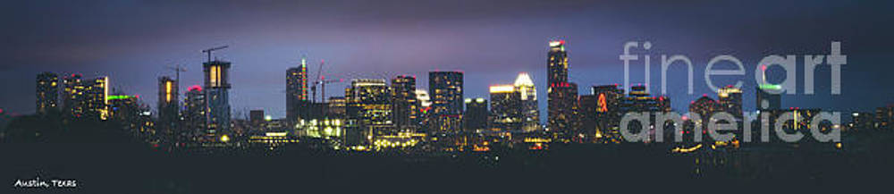 Night View of Downtown Skyline in Winter by PorqueNo Studios