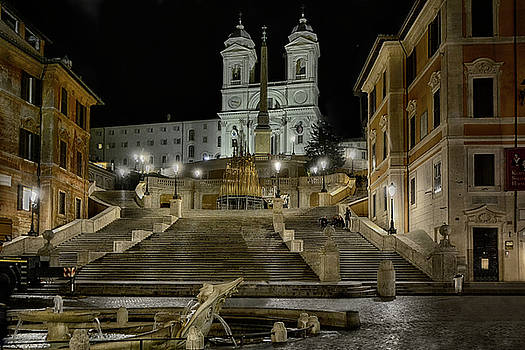 night walk in Rome to the Spanish Steps by Joachim G Pinkawa
