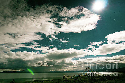 Nightscape Moon Lake Manasarovar Kailash Yantra.lv TIBET by Raimond Klavins
