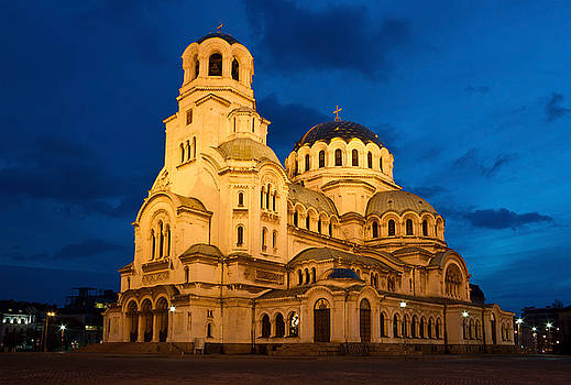 Nightshot of Cathedral Alexandar Nevsky in Sofia  by Kiril Stanchev