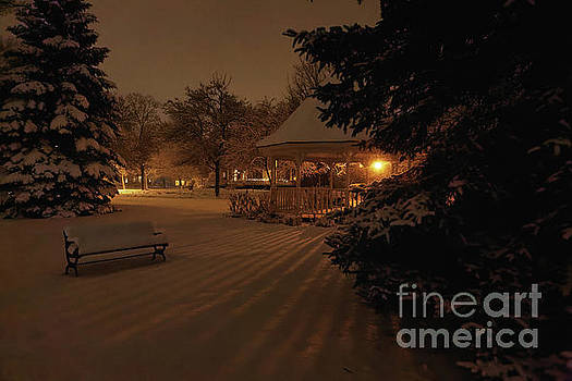 Nighttime Snowy Gazebo With Bench and Shadows by Kari Yearous